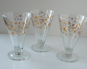 Vintage Turquoise and Gold Mid-Century Set of 5 Tumblers Arabian Horses Polo Riders