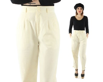 Vintage 80s High Waisted Trousers Pleated Pants Tapered Buckle Legs 1980s Buttercream Ivory Cotton Medium M