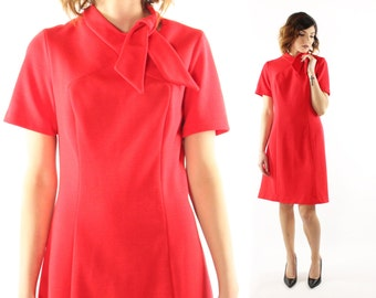 Vintage 60s Mod Ascot Dress Red Knit Short Sleeve Shift Secretary 1960s Large L Toni Todd