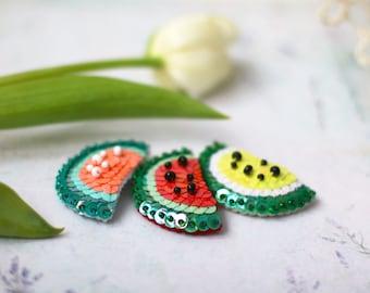 Watermelon Sequin Brooch, Bright Sweet Fruit Brooch, Summer Juicy Pin, Statement Modern Jewelry, Food Kawaii Brooch