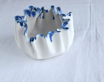 RUFFLED 4 white porcelain bowl with runny cobalt drip glaze, white and blue, statement bowl, tableware