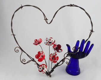 Barbed Wire Heart With Red and White Forever Blooming Flowers