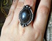 RESERVED for Linda - Enchanted Moon - Black Moonstone Sterling Silver Handcrafted Ring - Size 8 - Boho - Crystal - Gemstone - Moonchild