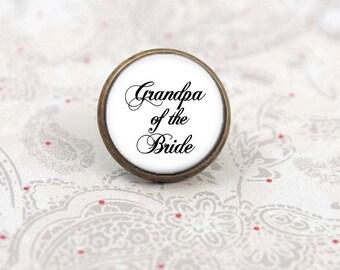 Grandpa of the Bride, Tie Tack, Tie Pin, Lapel Pin, Tie Clip, Bridal Party Accessory, Wedding Keepsake Gift