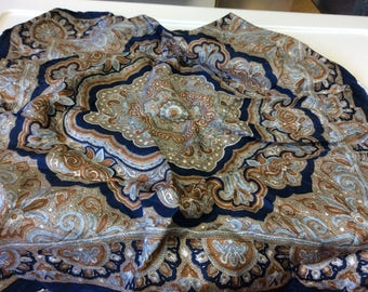 """18"""" Square Scarf, Blue and Brown Designer Scarf, Paisley, Floral, Medallion , Fashion Scarf, Head scarf"""