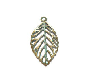 1 Leaf Charm: Verdigris Patina Finish, Leaf charms for bracelets and earrings, jewelry supplies, friendship bracelets - ANC004
