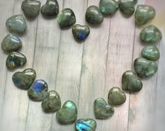 "Labradorite Heart shaped gemstone, 1"" polished stone, Reiki, Healing, for crystal grid or jewelry making"