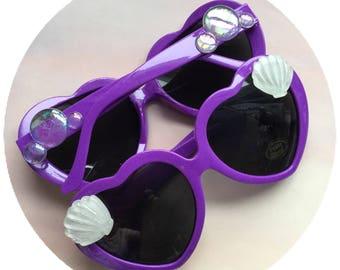 Sunglasses, Seashell purple heart shape sun glasses, with iridescent bubbles