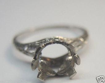 Antique Vintage Engagement Ring Setting Mounting Mount Platinum Hold 7-7.5MM | ES-185