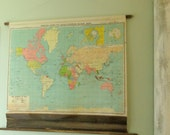 Antique Map, Vintage World Map, Pull Down School Map, Wall Map, Map Decor