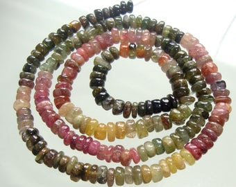 26% OFF, 1/2 Strand, 4.5-5mm, Tourmaline smooth Rondelles beads, Deep Green, Pink, Yellow, Petro, Multi