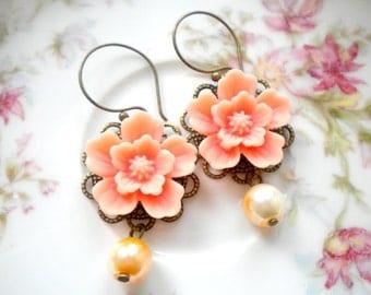 Peach Earrings Dangle Flower Earrings Peach Bridesmaid Earrings Peach Chandelier Earrings Pearl Bridesmaid Earrings Peach Wedding Jewelry