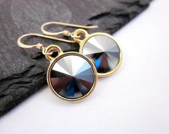 Metallic Drop Earrings -- Dark Grey Dangles -- Hematite & Gold Earrings -- Hematite Crystal Dangles -- Hematite Swarovski Dangles