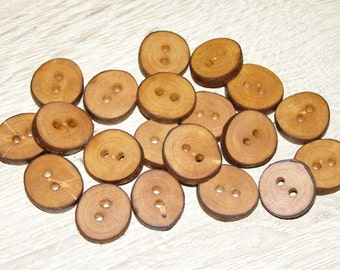 "Small 20 Handmade apple wood Tree Branch Buttons with Bark, accessories (0,71'' diameter x 0,16"" thick)"
