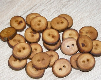 "Small 25 Handmade apple wood Tree Branch Buttons with Bark, accessories (0,79'' diameter x 0,16"" thick)"