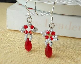 SALE! Ruby red beaded teardrop Swarovski Crystals Earrings Valentine Gift for her