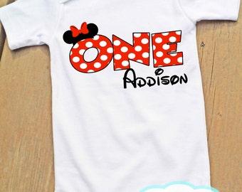 Minnie Mouse First Birthday Bodysuit or Tshirt - Personalized - Girl Birthday - Disney