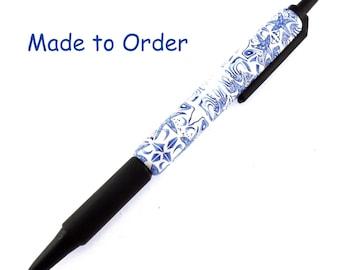 Handmade Polymer Clay Retractable Pen,  Delft Design, Ocean