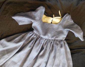 Girls Blue Linen Gown, 18th Century, Size 4T