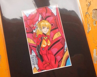 Asuka evangelion colour drawing by Boo rudetoons
