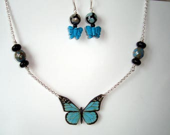 Butterfly Necklace and Earrings Set in Turquoise and SIlver, Butterfly Focal. Gemstone Butterfly Earrings, Woman Gift, Mother's Day
