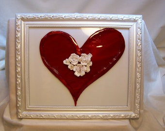 Heart, Love,  Fused Glass Heart, Hearts and Flowers, Wedding Gift, Love Gift, Engagement Gift