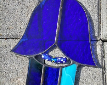 Hamsa Glass Art Wall Decor Judaica Israel Home Ornament Stained glass Gift