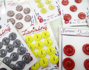 Vintage Carded Platic Button Sets Lansing Supreme Quality Buttons On Cards Old Store Stock Lot (9) Each Sewing Notions