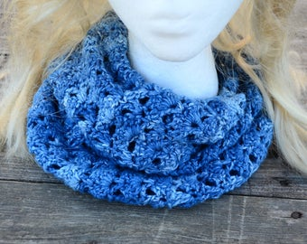 Crocheted Blue Ombre Neck Cowl, Infinity Scarf, Handmade, Blue Ombre, Cotton