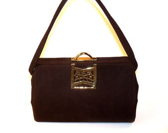 Vintage Chocolate Brown Suede Leather Handbag Box Purse