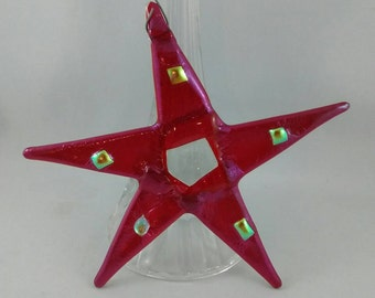 Red star - fused glass star -gift exchange -fused glass - iridescent glass gift - star lover -glass gift -gift -thank you gift - home decor