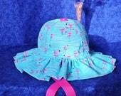 Baby Girl Sun Hat with Flamingos Ruffled Brim