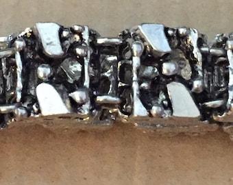 Vintage Hand Crafted 1960s Silver Plated Pewter 12 Linked Squares Brutalist Panels Hook Closure Bracelet