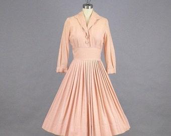 SALE 1950s Full Skirt Dress, 50s Dress, Pink Wool Dress, Vintage Day Dress