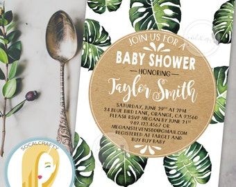 Tropical Baby Shower Invitation, Bohemian, Boho, Kraft Paper, Watercolor, Banana Leaves, DIY, Printed or Printable Invitations, Free Ship