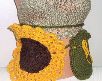 Burning Man Hip Belt Bag Festival Belt ~ crochet sunflower hippie pocket belt ~ utility belt bag - fanny pack - money belt