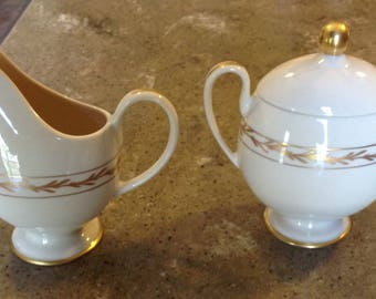 Franciscan Gold Leaf BEVERLY Pattern Vintage Creamer and Covered Sugar Set Elegant Mid Century
