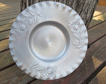 Hand Wrought Aluminum Vintage Round Tray Bowl with Roses, 13 1/2 inch