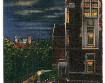 Ayres Hall at Night University Tennessee Knoxville linen postcard