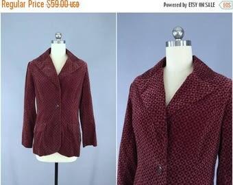 SALE - Vintage 1970s Jacket / 70s Blazer / Velvet Coat / Marsala Maroon / Geometric Print / E. A. Chatta Ltd. / Size Small S Medium M
