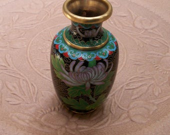 "Cloisonné Vase, 4"" Tall, Chinese Black, Blossoms"