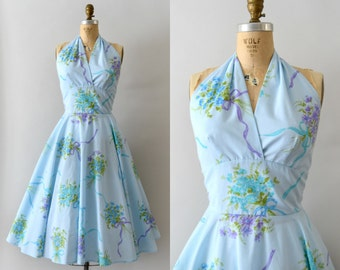 1950s Vintage Dress - 50s Light Blue Floral Cotton Halter Neck Dress