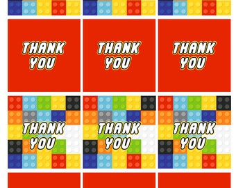 Lego inspired Birthday Party Printables - INSTANT - Thank You Tags - Printbale PDF