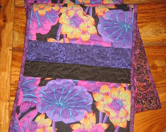 "Quilted Table Runner Kaffe Fassett Purple Pink and Black Flowers Summer Decor, Reversible 13 x 60"" Handmade Free Shipping"