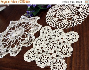Crochet Doilies, 3 Assorted Knit Doily Lot, Vintage Doily Collection, Whites 13719
