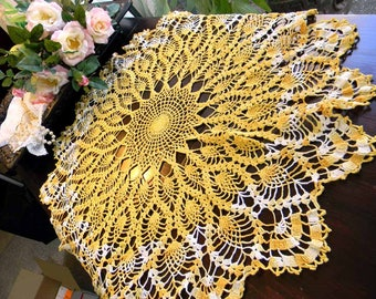 Vintage Crochet Doily or Centerpiece Variegated Oranges - Hand Crocheted, Large Doilies 4903