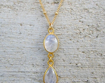 Rainbow Moonstone Drop Necklace in Gold