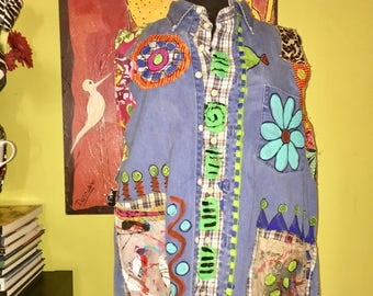 Hand painted upcycled denim vest fits XL 1X