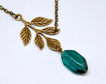 Teal Glass Branch Necklace, Antique Brass Leaf Necklace, Leafy Branch Necklace, Twig Necklace, Geometric Bead, Teal Necklace, Nature Jewelry