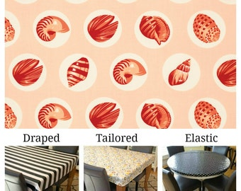 Laminated cotton aka oilcloth tablecloth custom size and fit choose elastic, tailored or draped Tula Pink Salt Water Shell Dots coral